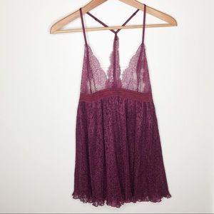 Victoria's Secret Burgundy Babydoll Lace Chemise L
